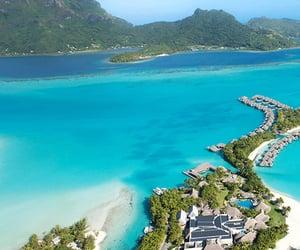 bora bora, villas, and beach vacation image