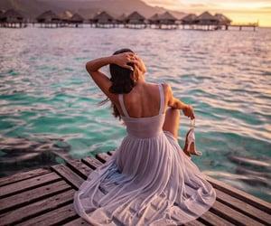 beach, bora bora, and girls image