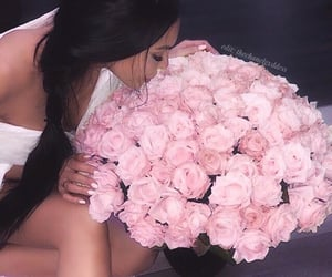 brunette, flowers, and white image