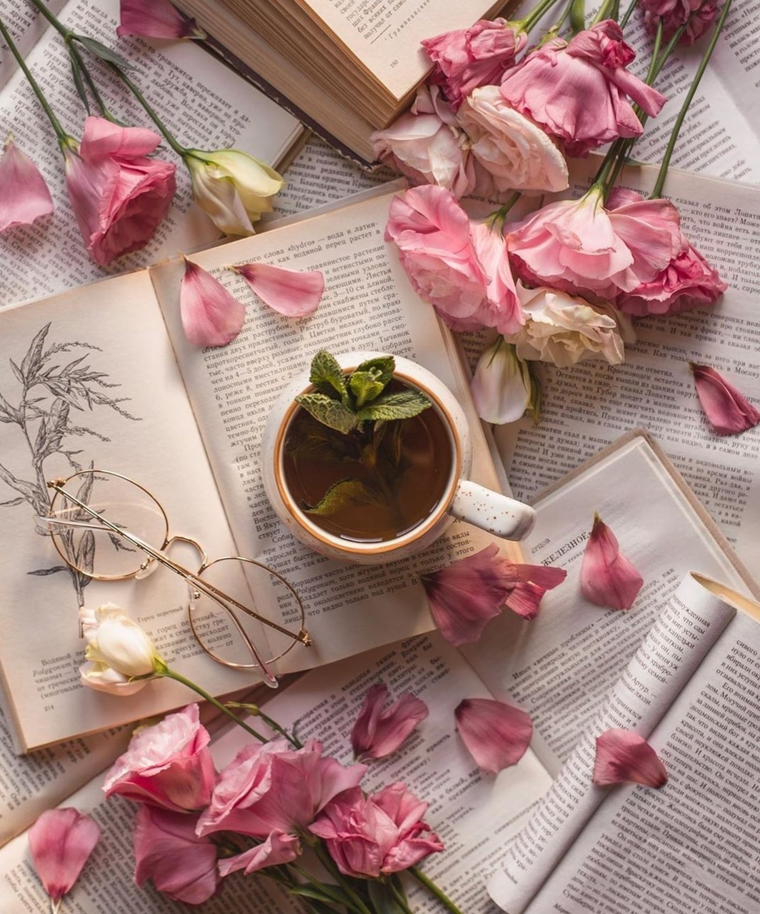 book, tea, and flowers image