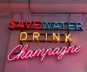 quotes, champagne, and neon image