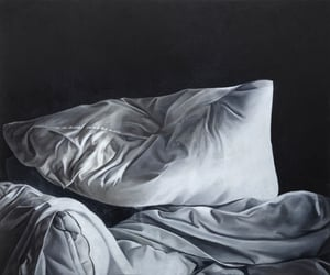 bed, bedding, and depression image