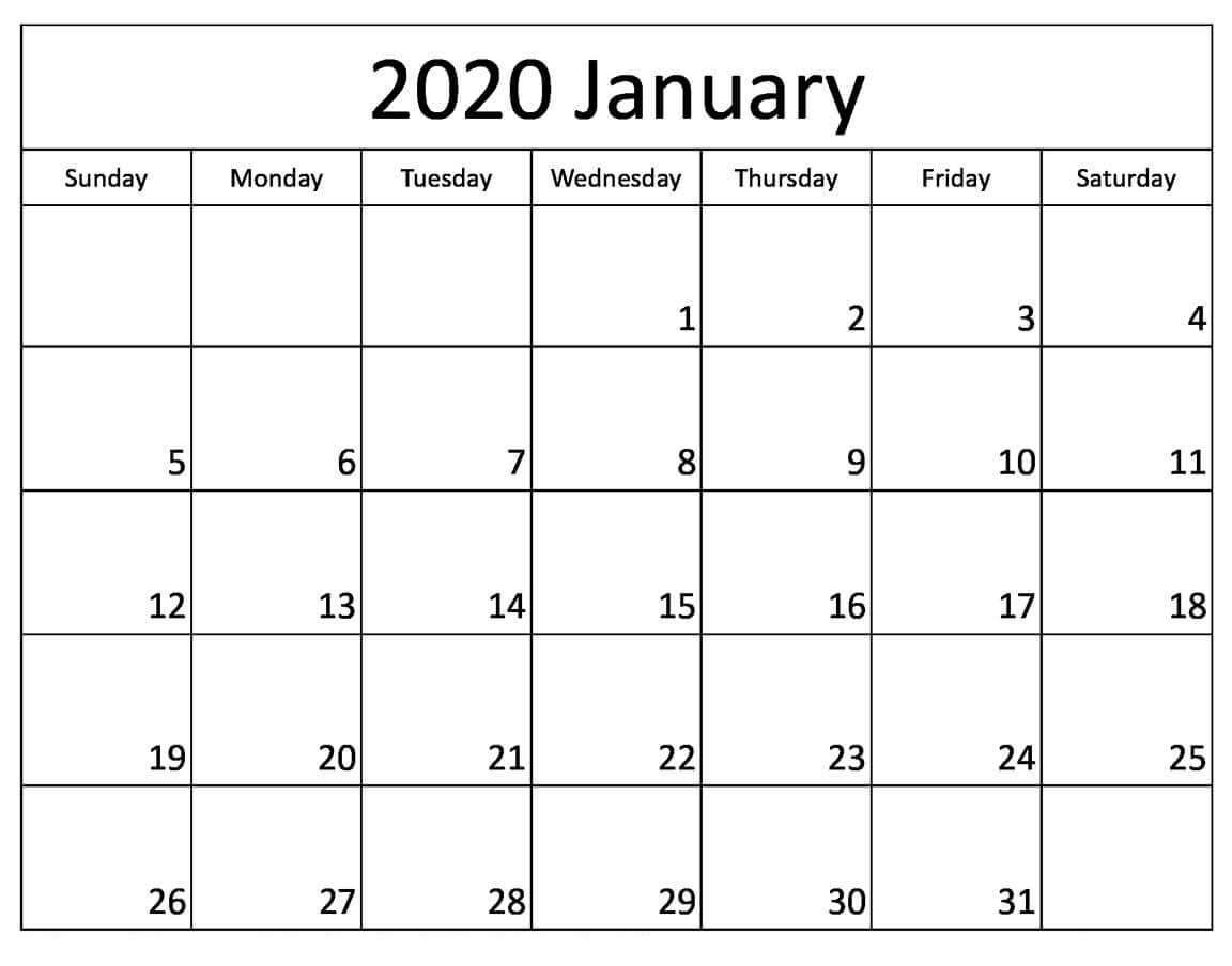 This is a graphic of Gratifying Printable January 2020 Calendars