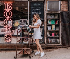 book, girl, and books image