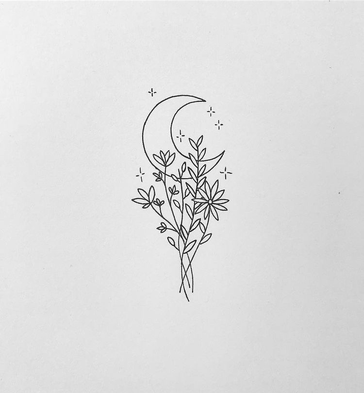 black, flowers, and moon image