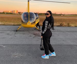 fashion, female, and helicopter image