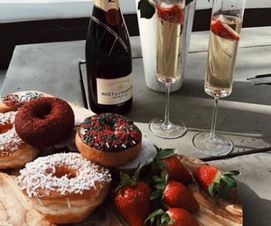 food, donuts, and champagne image
