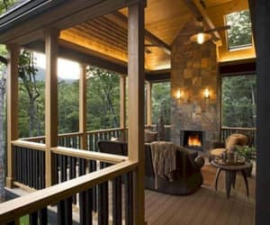 deck, fireplace, and home image