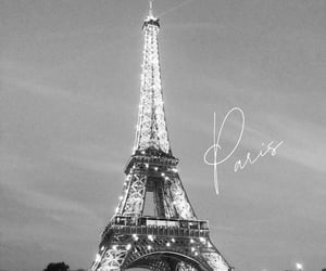 city, black and white, and eiffel tower image