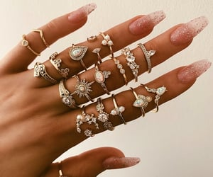 earrings, gold, and nails image