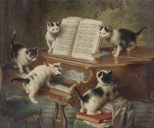 cat, piano, and art image