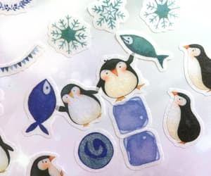baby penguin, north pole, and ice cube image
