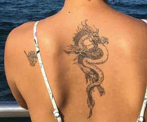 dragon, ocean, and tattoo image