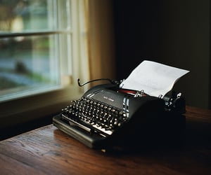 typewriter, book, and write image