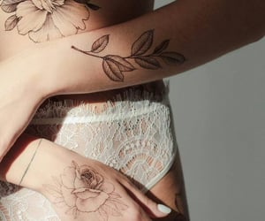 art, flowers tattoo, and beauty image