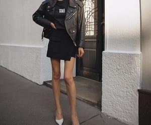 blogger, fashion, and leather jacket image