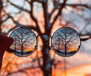 autumn, glasses, and sunset image