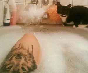 bath, bubble bath, and wolf image