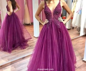 evening dress, v neck prom dress, and prom dress image