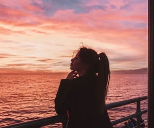 pink, water, and santa monica pier image