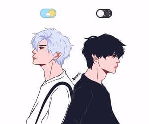 art, moon, and boy image
