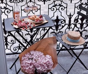 balcony, breakfast, and flowers image