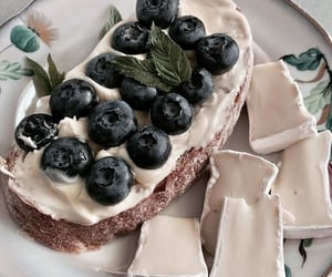 food, blueberries, and bread image