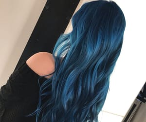 blue hair, midnight blue hair, and dark hair color image