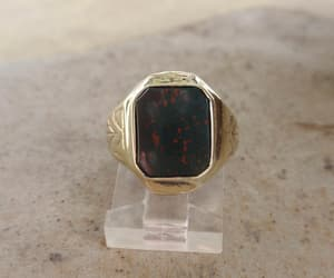 etsy, green red stone, and art deco signet image