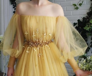 dress, long, and yellow image