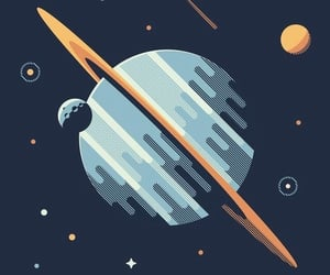 planet, saturn, and stars image