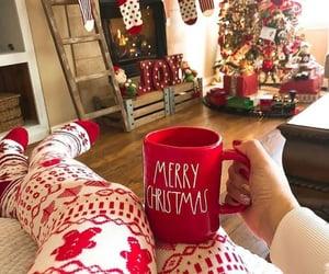 chilling, christmas lights, and christmas tree image