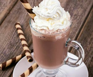 chocolate, drink, and whip cream image