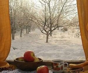 apples, snow, and tea image