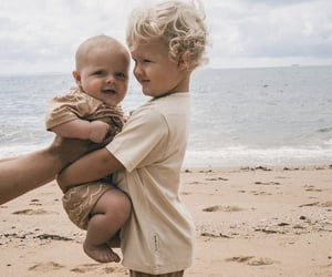 adorable, beach, and brothers image