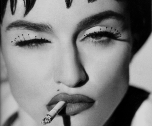 black and white, cigarette, and girl image