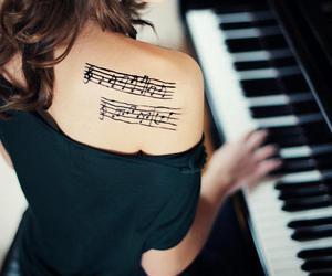music, tattoo, and piano image