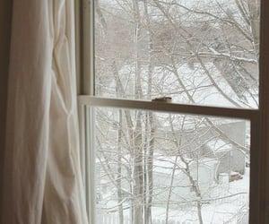 snow, winter, and window image