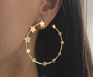 earrings, stars, and gold image