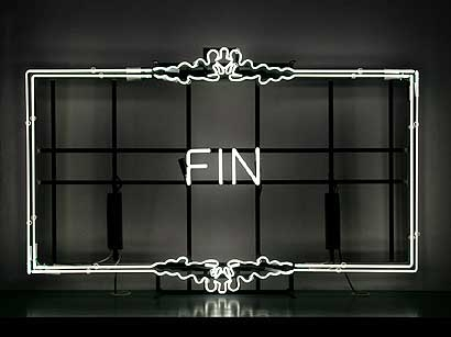 end, fin, and black and white image