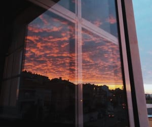 aesthetic, sunset, and window image