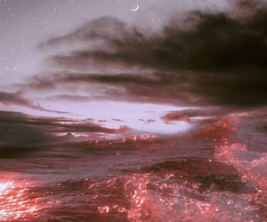 moon, pink, and water image