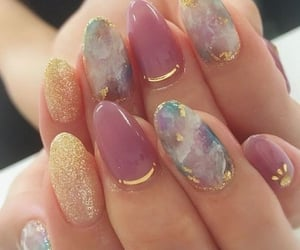 beauty, glitter, and gel nails image