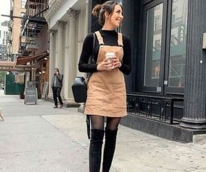 backpack, coffee, and fashion girl image
