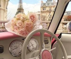 paris, flowers, and car image