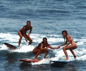 friends, sea, and surfing image
