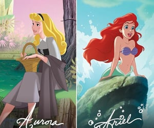 ariel, aurora, and disney image