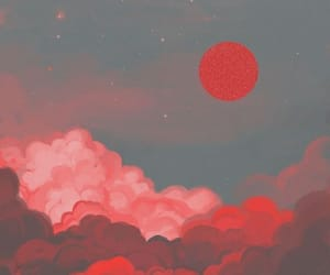 art, clouds, and red image