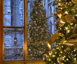 christmas, lights, and trees image