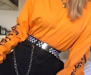 orange, outfit, and e-girl image